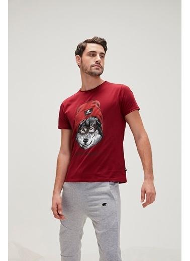 Bad Bear Bad Bear 200107015-Wht Red Hood Tee Bisiklet Yaka Kısa Kol Baskı Desenli Maroon Erkek T-Shirt Renkli